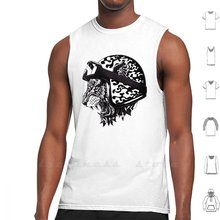 Tiger Helm Tank Top Cotton Vest Sleeveless Men Women Tiger Flame Helmet Bicycle Motorcycle Cycle Cat Pattern Ornate Ben Kwok(China)