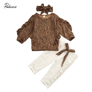 2020 Baby Spring Autumn Clothing Kid Baby Girl Clothes Ruffle Leopard Long Sleeve Shirt Tops Leggings Pants Outfit Set Tracksuit