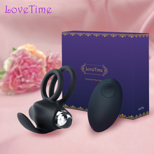 LoveTime 10 Functions Dual Vibrator Ring USB Wireless Remote Cock Sex Toys Men Penis Rings Delay Ejaculation