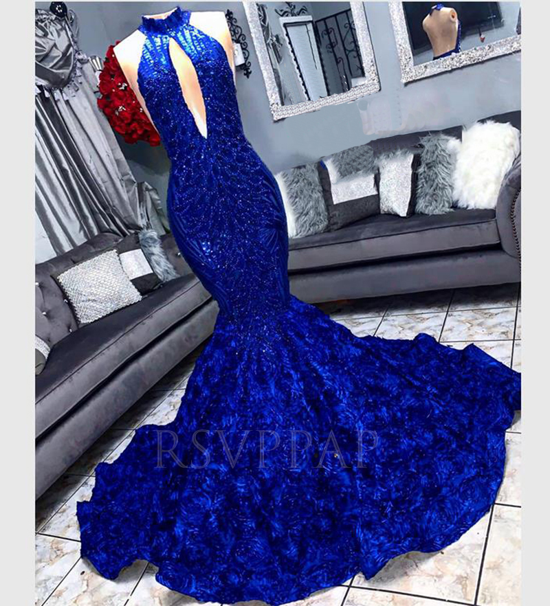African Black Girl Long   Prom     Dress   Sexy Cut-Out Front Backless Sequin Top 3D Flowers Royal Blue Mermaid   Prom     Dresses   2020