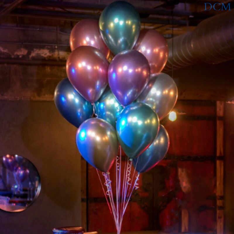 Globos de látex metálicos cromados de oro plateado de 12 pulgadas Globos de Metal perlado Globos de boda cumpleaños suministros @ 08