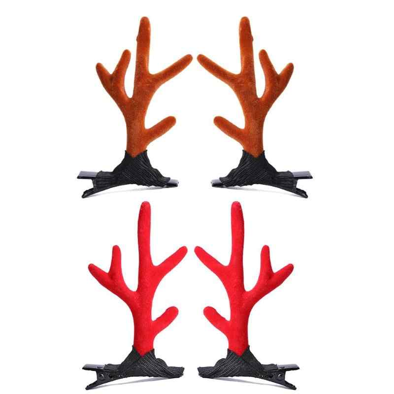 1 Pair Lovely Christmas Hairpins Hair Clip Cartoon Antlers Kids Barrettes