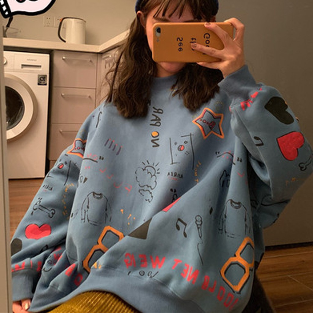 Feitong Sweatshirts Women Autumn Top O-neck Cartoon Printing Sweatshirt Warm Long Sleeve Loose Blouse Women's Clothing