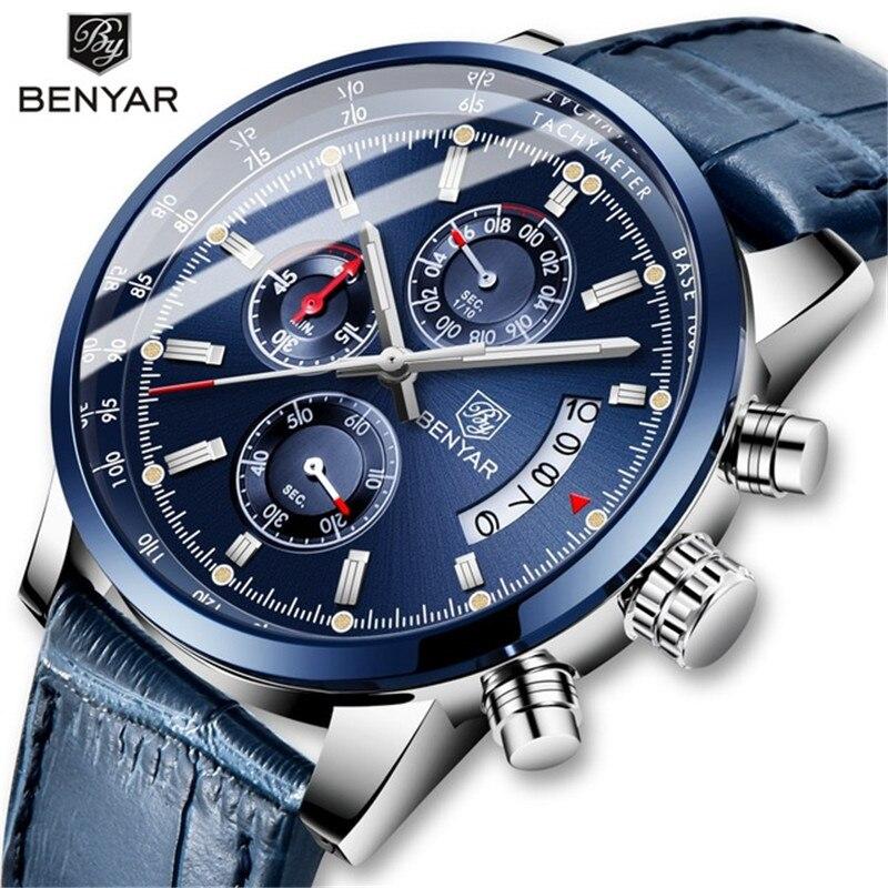 BENYAR Men's Watch Leather/Blue Watch Men Quartz Sport Watches Mens Casual Fashion Male Waterproof Wristwatch Relogio Masculino