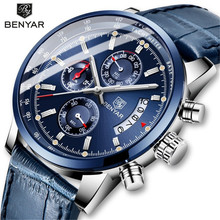 BENYAR Mens Watch Leather/Blue Watch Men Quartz Sport Watches Mens Cas