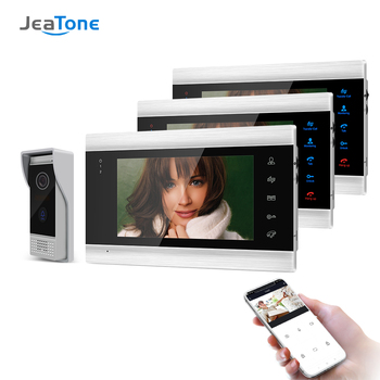Jeatone 7 Inch Wireless/Wifi Smart IP Video Door Phone Intercom System with 3 Night Vision Monitor + 720P Doorbell Camera build in battery long time standby wireless wifi 720p ip doorbell intercom system