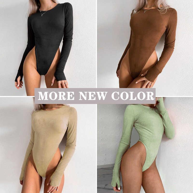 FSDA O boyun uzun kollu Bodysuit kadın süet 2020 sonbahar kış seksi vücut üst haki rahat düz bayan Bodysuits Streetwear