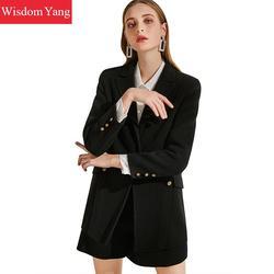 Комплект из 2 предметов, зимнее пальто, женский костюм, черные шерстяные пальто, Женское пальто, корейское шерстяное женское мини короткое п...