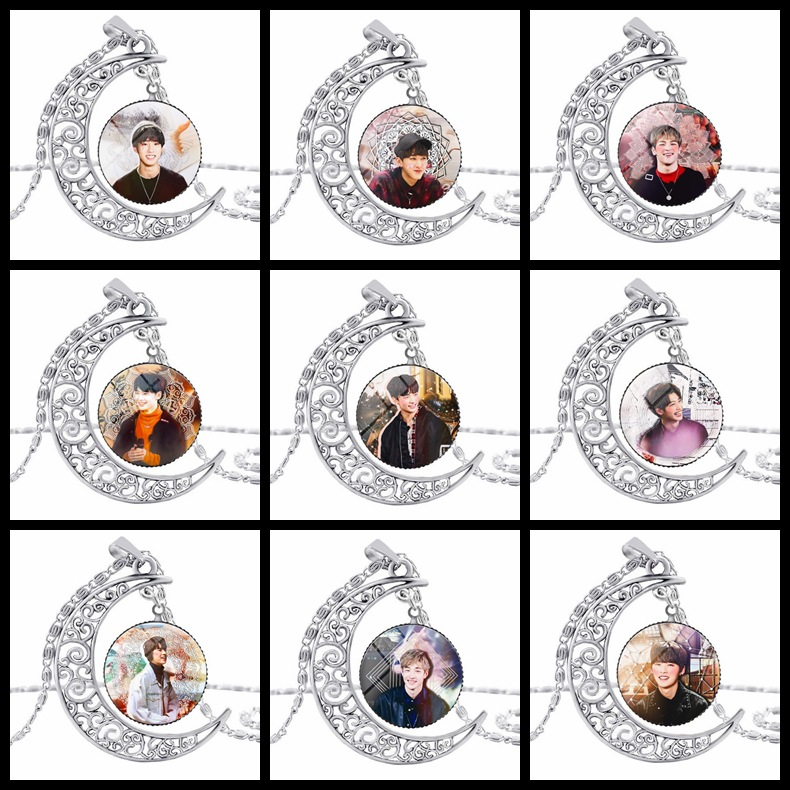 Fashion Kpop Stray Kids Moon Pendant Necklace Zinc Alloy Crystal Fans Gift Korean Style Stray Kids Kpop Necklace