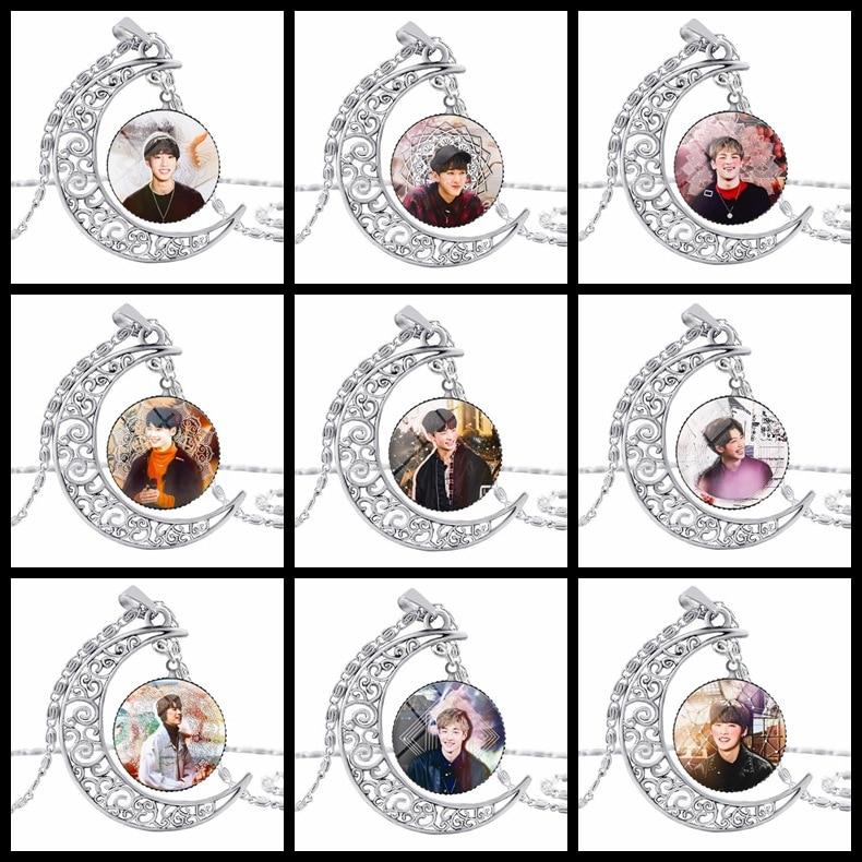 Fashion Kpop Stray Kids Moon Pendant Necklace Zinc Alloy Crystal Fans Gift Korean Style Stray Kids Kpop Necklace