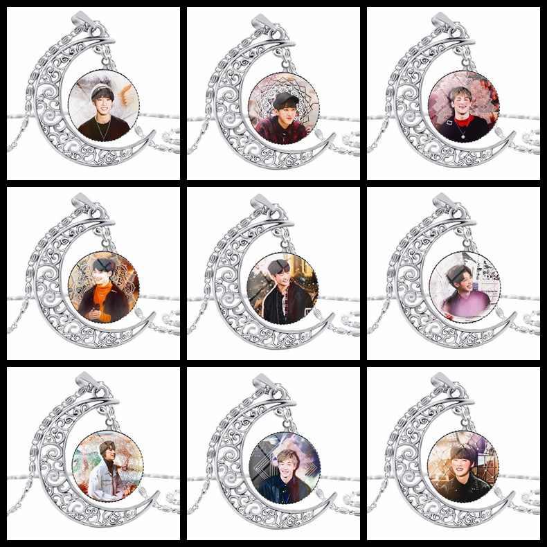 ファッション Kpop 浮遊子供ムーンペンダントネックレス亜鉛合金クリスタルファンギフト韓国スタイル浮遊子供 kpop ネックレス