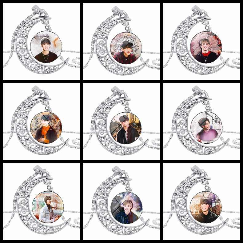 אופנה Kpop תועה ילדים ירח תליון שרשרת אבץ סגסוגת קריסטל אוהדי מתנה קוריאני סגנון תועה ילדים kpop שרשרת