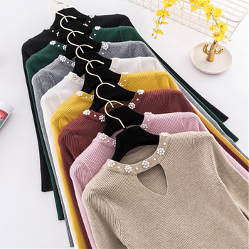 Beading Knitted Sweater Button Pullovers Pull Femme High Elastic 2020 Autumn Winter Women Sweater Jumper Pullover Sleeve Long bow knitted pullovers autumn winter women sweater jumper pullover sleeve long 2020 high elasticity fall sweater women pullover