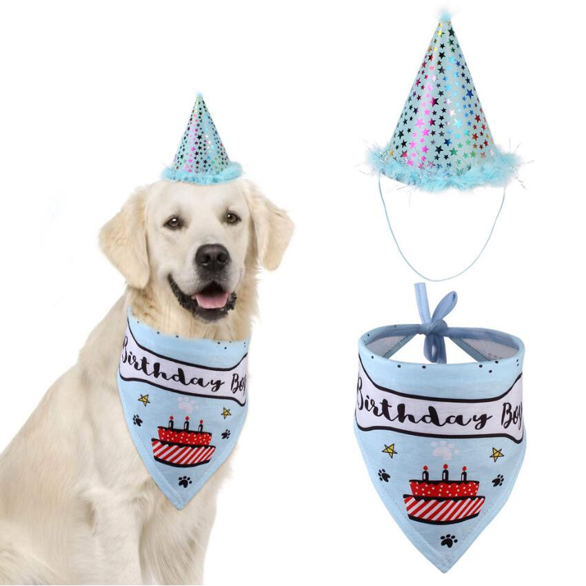 Party Pet Dogs Caps Cat Dog Bibs Birthday Costume Design Head-wear Hat Christmas Bandana Hat Scarf Pets Accessories Supplies