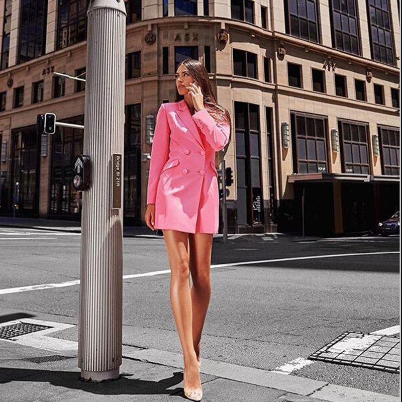 Women's Double Breasted Business Suit Female Custom Made Slim Fit Suits Female Buttons Mini Blazer Dress Women Long Sleeve