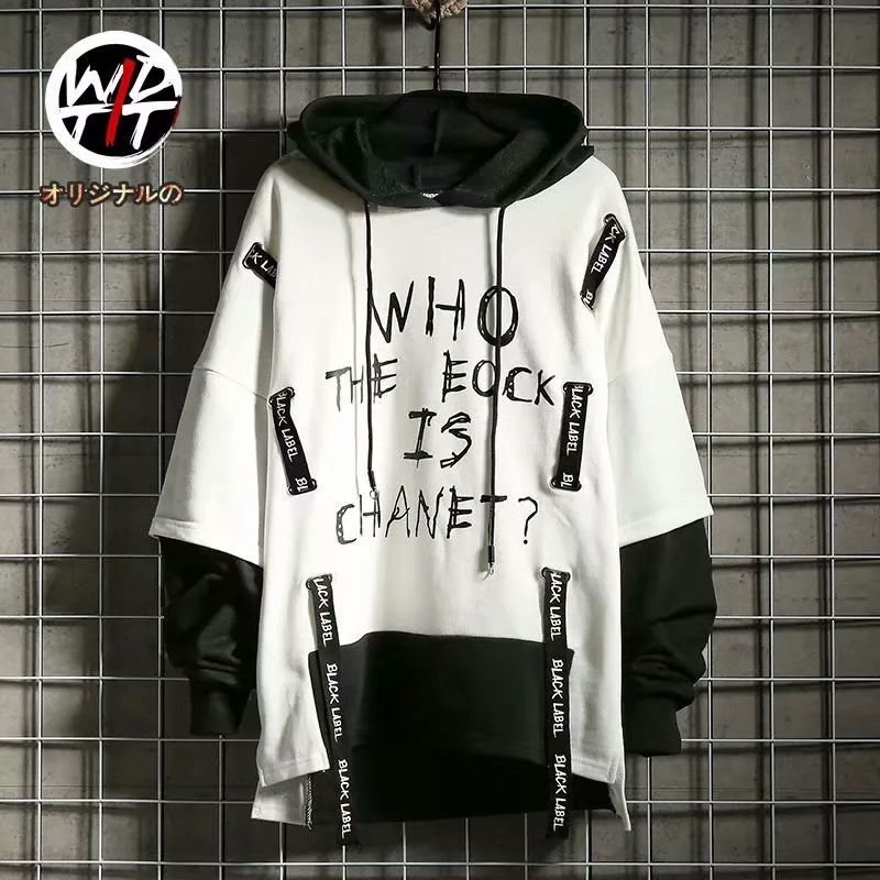 2020spring Autumn Loose Long-sleeved White Black Hoodie Sweatshirt Men's Hip-hop Punk Pullover Streetwear Casual Fashion Clothes