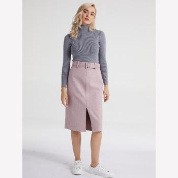 Lizkova Pink Pencil Skirt Winter 2020 Women High Waist Split Faldas With Belt Elegant Official Ladies Jupes 2810