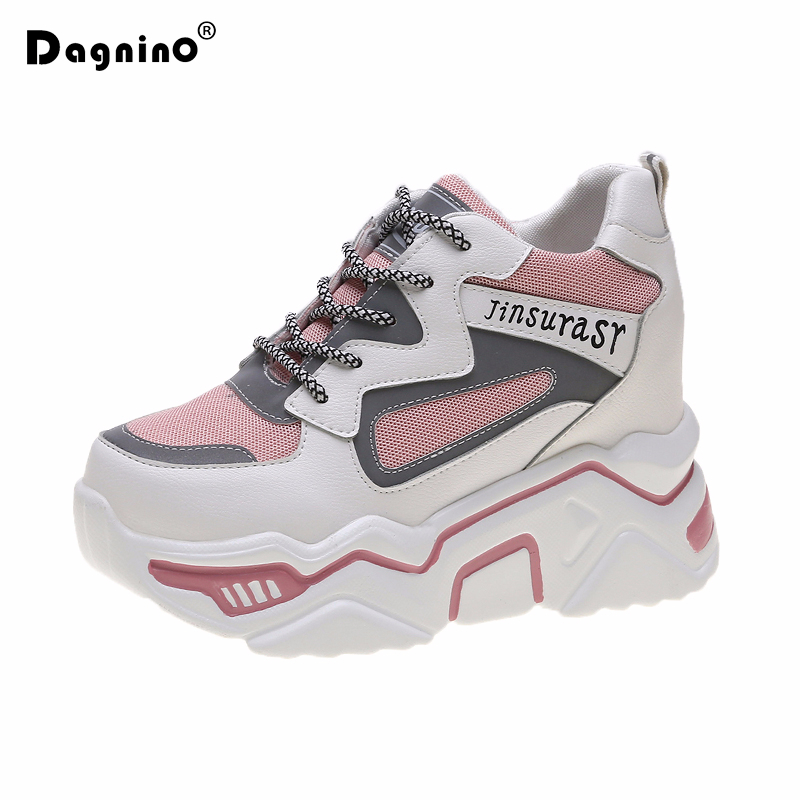 2019 New Women Platform Sneakers Height Increased Autumn Thick Sole Casual Shoes 9.5CM Breathable Mesh Walking Shoes Wedge Woman