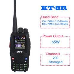QYT KT-8R Quad Band UHF VHF 136-147Mhz 400-470mhz 220-270mh 350-390mhz четырехдиапазонный ручной двухсторонний радиоприемопередатчик KT8R