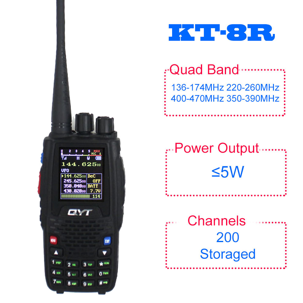 QYT KT-8R Quad Band UHF VHF 136-147Mhz 400-470mhz 220-270mh 350-390mhz Quad Band Handheld Two Way Radio Ham Transceiver KT8R