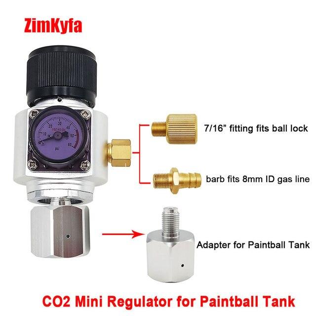 Мини CO2 газовый регулятор с адаптером для пейнтбольного бака, конвертер для домашнего пивоваренного керна 0 ~ 60PSI