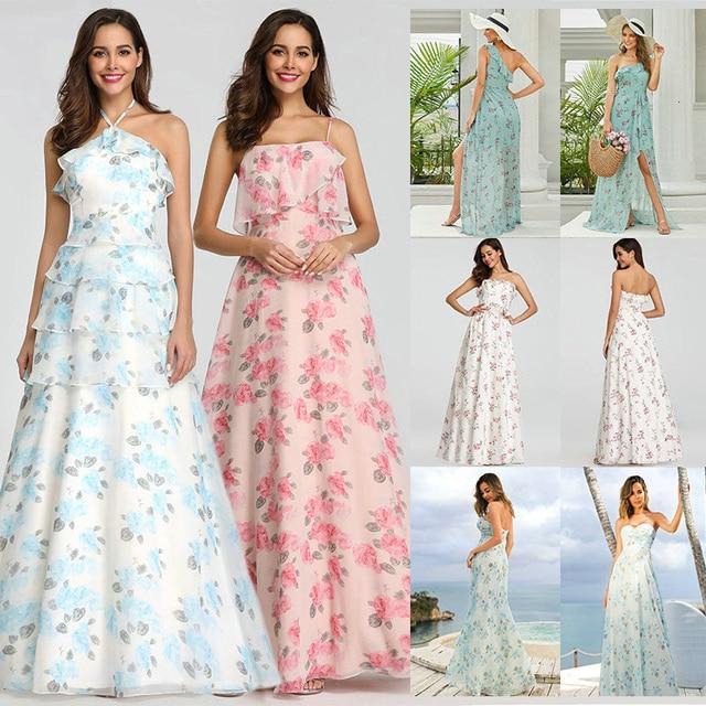 2020 חדש שושבינה שמלות אי פעם די EP07242 נשים ארוך שיפון מודפס חוף שמלות אונליין חתונת אורח המפלגה שמלות