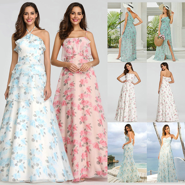 2020 New Bridesmaid Dresses Ever Pretty EP07242 Women Long Chiffon Printed Beach Dresses A line Wedding Guest Party Dresses