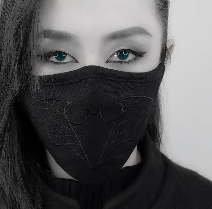 Men Women's Black Embroidery 100% Cotton Mask Lady's PM 2.5 Filter Punk Breathable Cotton Mouth-muffle R2796