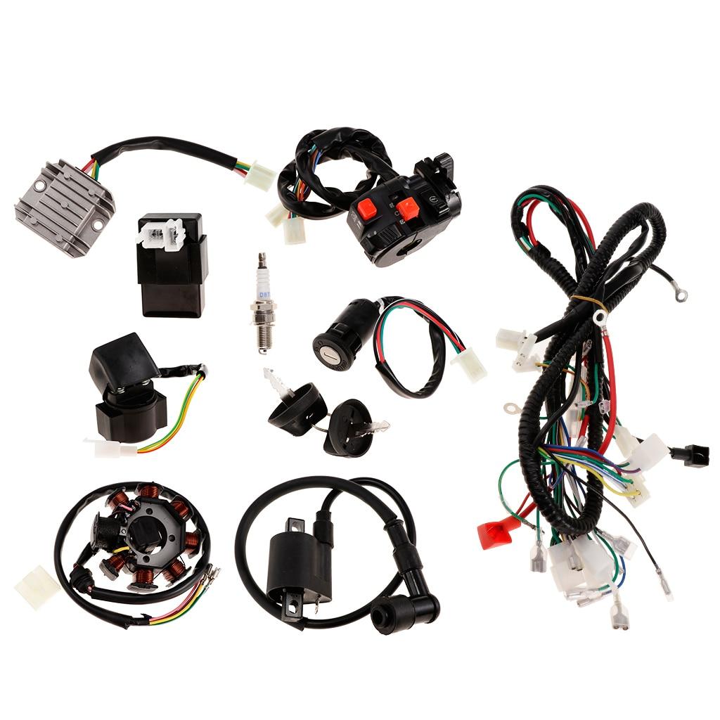 1 set full electrics wiring harness coil cdi magneto stator spark plug kits  for 150cc 250cc atv quad pit dirt bike buggy go kart|atv parts &  accessories| - aliexpress  aliexpress