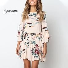 SVOKOR Ruffles A-line Floral Women Dress Autumn Winter