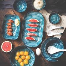 Высокое качество скандинавские японские Ручная роспись керамические звездное небо столовая посуда рисовый суп миски для лапши рыбы стейк тарелка блюдо