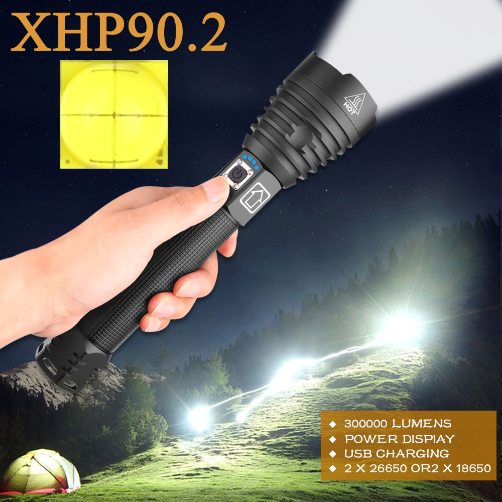 XHP90.2 Most Powerful Led Flashlight 300000 Lm Led Torch Tactical Flashlights Xhp70 Usb Rechargeable Flash Light Xhp50 Work Lamp