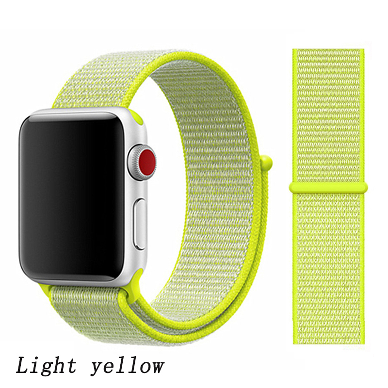 Спортивная петля ремешок apple watch band 42 мм 38 мм apple watch 4 3 band iwatch band 44 мм 40 мм correa pulseira 42 44 нейлоновый ремешок для часов - Цвет ремешка: flash light