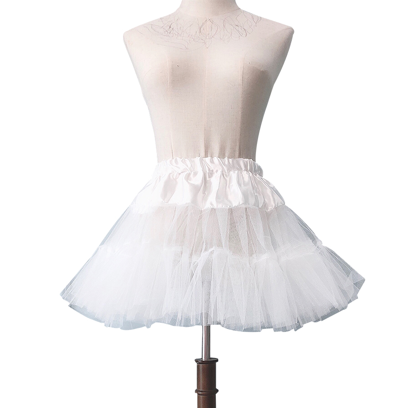 Summer Ladies Casual Mini Skirt Fluffy Ballet Tutu Skirt Slim White Pleated Tulle Short Skirt Wedding Prom Skirt Petticoat