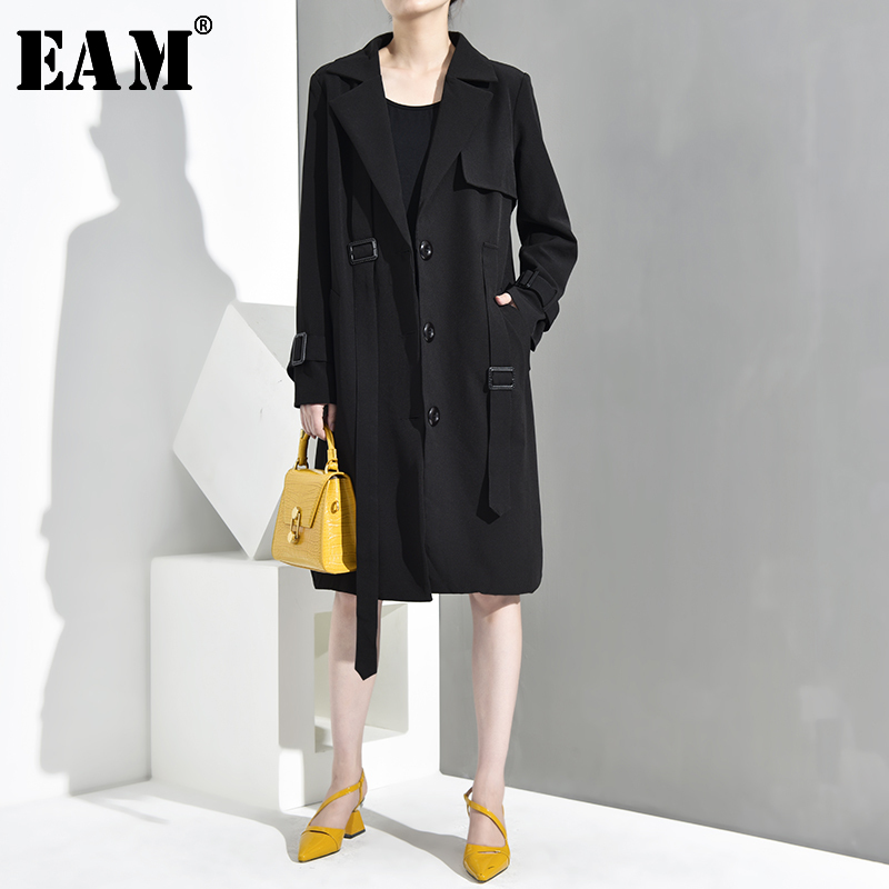 [EAM] Women Black Bandage Back Letter Big Size Trench New Lapel Long Sleeve Loose Fit Windbreaker Fashion Spring 2020 JR12901