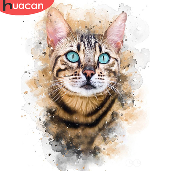 HUACAN 5D Diamond Painting Full Drill Cat Mosaic Animal Embroidery Home Decor New Arrival Sale - discount item  36% OFF Arts,Crafts & Sewing