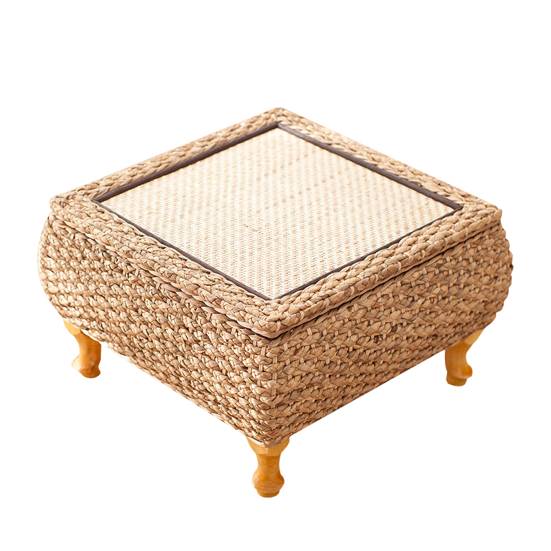 38%Straw Bamboo Wood Windows Small Tea Table Table Japanese Tatami Platform Sill Computer Simple Short Square Table
