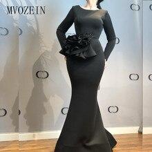 цена на Black Mermaid Evening Dresses Embroidery Flower Beaded Full Sleeves Floor Length Formal Gowns Long Evening Dress