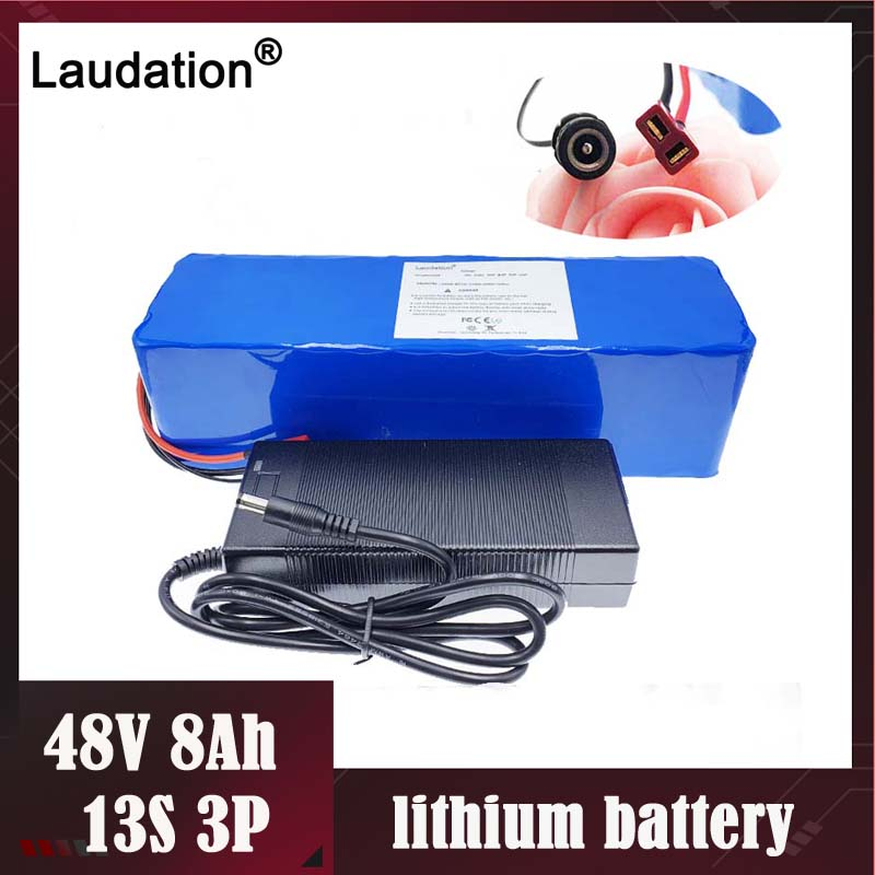 Laudation 48 V 8ah electric bicycle lithium battery Built-in <font><b>15A</b></font> <font><b>BMS</b></font> <font><b>13S</b></font> 3P for 48 volt 500 W E electric bicycle with 2A charger image