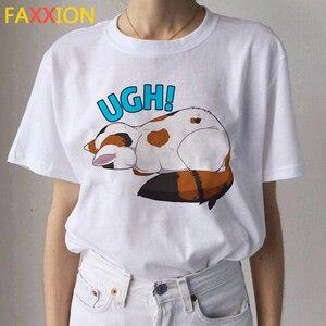 Image 3 - 2020 Kawaii 고양이 재미 있은 만화 T 셔츠 여성 Ullzang 캐주얼 T 셔츠 귀여운 90s 인쇄 Tshirt 패션 톱 티 여성