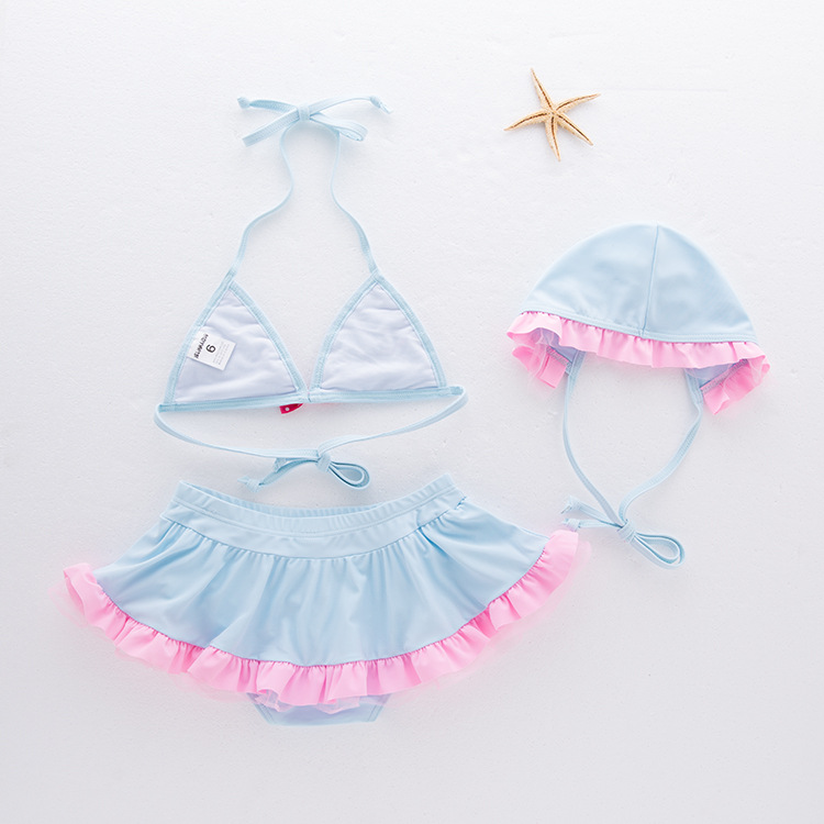 Girls' Two-piece Swimsuit Hipster Pink And Blue Swimwear Children Hot Springs Tour Bathing Suit Three-piece Set