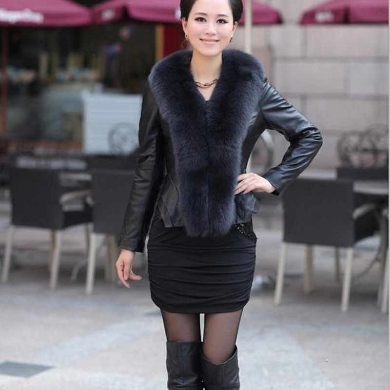 2020 חדש אמיתי פרווה מעיל לנשים יוקרה מותג אמיתי עור נשי מעיל ארוך שרוול סקיני עם שועל פרווה צווארון מעילי להאריך ימים יותר