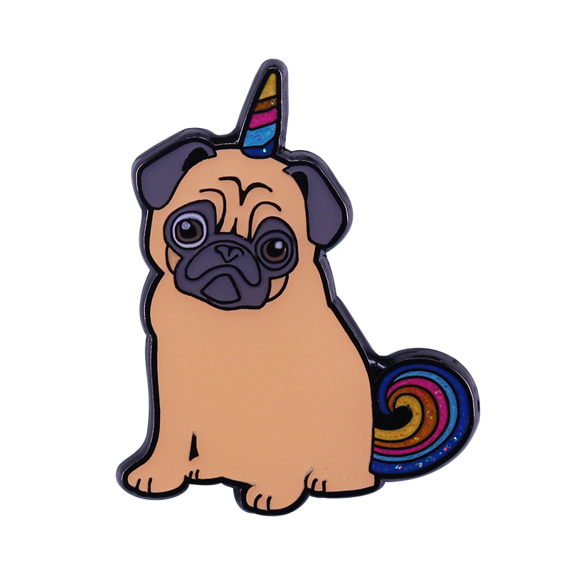 Show your magical pride all the time with this wonderful pug unicorm enamel pin Stay Magical friends! image