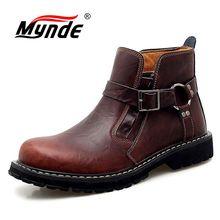 New Brand Autumn Winter Men's Boots Cow Genuine Leather Men Shoes Fashion Motorc