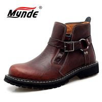 New Brand Autumn Winter Men's Boots Cow Genuine Leather Men Shoes Fashion Motorcycle Boots Comfortable Ankle Boots Casual Shoes