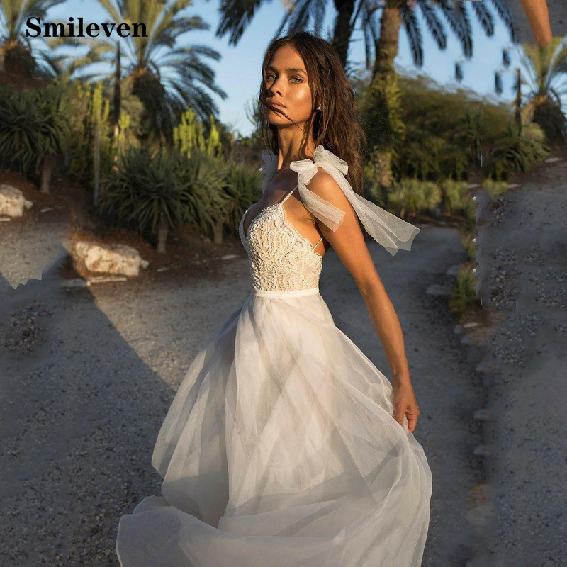 Smileven Beach Lace Wedding Dress A Line Boho Bridal Dress Spaghetti Strap Backless  Vestido De Noiva
