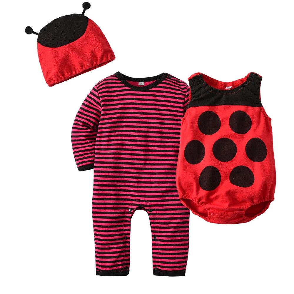Baby Halloween Costume Bee Rompers Toddler Costume Long Sleeve Baby Jumpsuit,Red Vest,Bee Hat,Newborn Baby Boy Girl Romper 3-24M