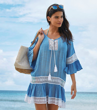 Woman Flare Sleeve Lace Patchwork Beach Bikini Cover UP Mini Blue Dress Summer Sun Protection Swim Suit Vacation TOPS Plus Size