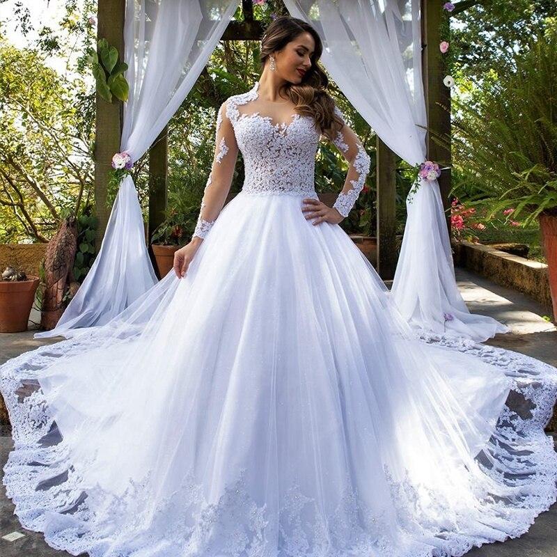 2020 Bridal Modest White Long Sleeve Sheer Jewel Princess Ball Gown Wedding Dress