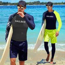 SAILBEE Men UV Protect Swimwear Long Sleeve Swimsuit Mens Rashguard Surfing Rash Guard Surf Shirt For Swimming Sail Drop Ship